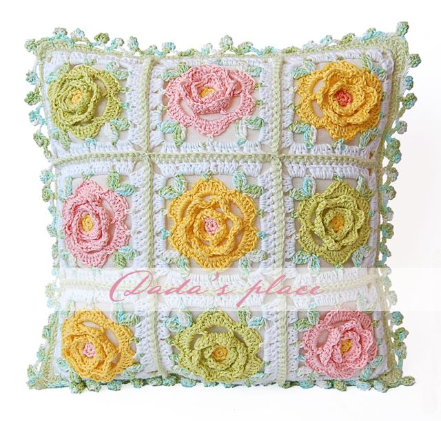 Free Pattern Crochet Japanese Flower : Japanese Flower Crochet Cushion Dadas place Bloglovin