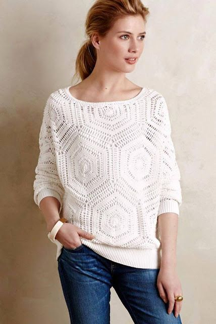 1269751b16f5a Free Crochet Pattern and Instructions for Anthropology Pullover - Picture  Based
