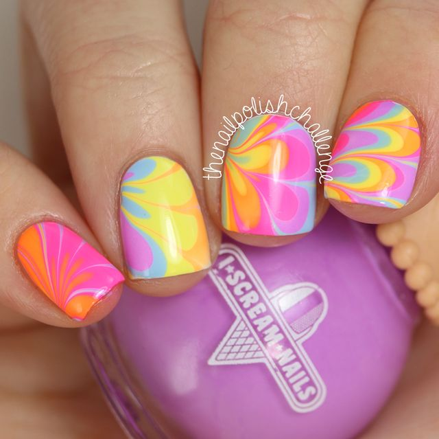 Neon rainbow watermarble nail art with i scream nails the nail its definitely been a while since i did any water marbling so theres no real consistency here but i like the funky pattern it created publicscrutiny Gallery