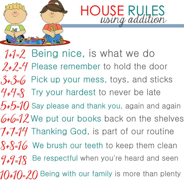 House Rules Using Addition For Toddlers From Mrs To