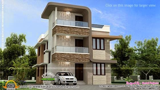 Small Double Storied Stair Room House Kerala Home Design