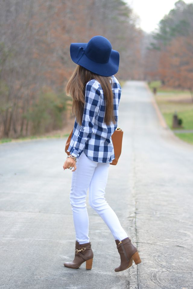 3c34d6ca12d9 ShopBellaC gingham top (wearing small) c o    ShopBellaC navy floppy hat  c o white jeans    Tory Burch Robinson tote    gold hardware booties     Kendra ...