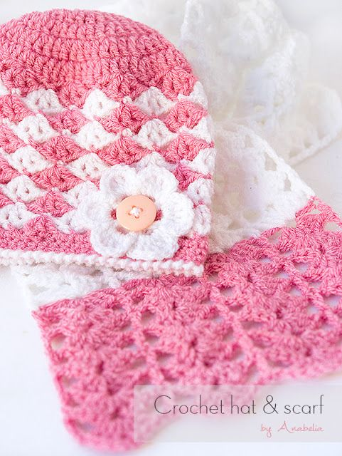 Baby crochet hat and scarf, free pattern | Anabelia Craft Design ...