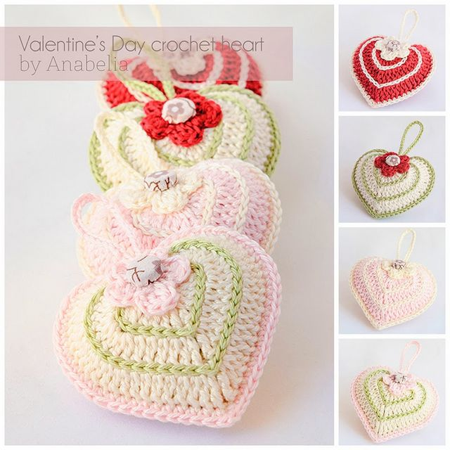 Valentine\'s Day crochet heart with chart | Anabelia Craft Design ...