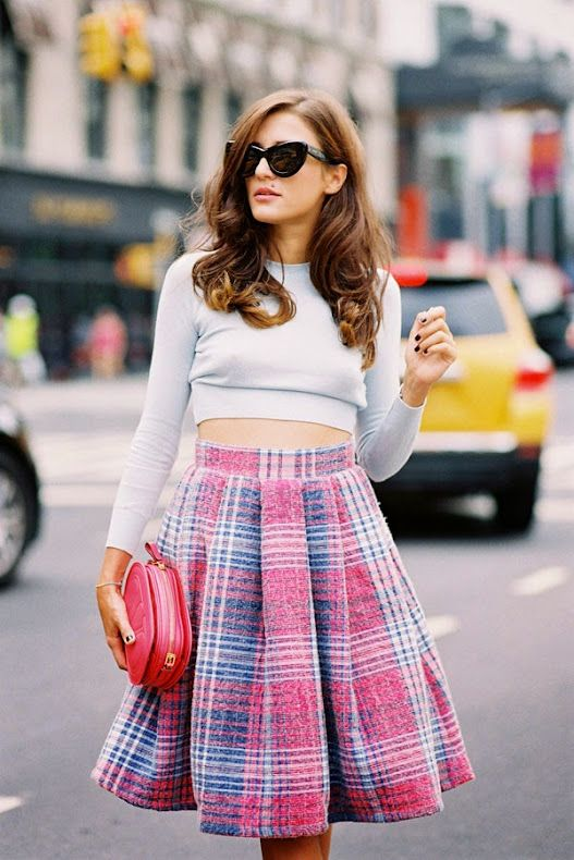 c9ac1b4c18d How gorgeous is Eleonora! Such a great outfit and beautiful colours.....  Recreate Eleonora's look (kind of): Cropped knit: Topshop Funnel Rib crop  top, ...