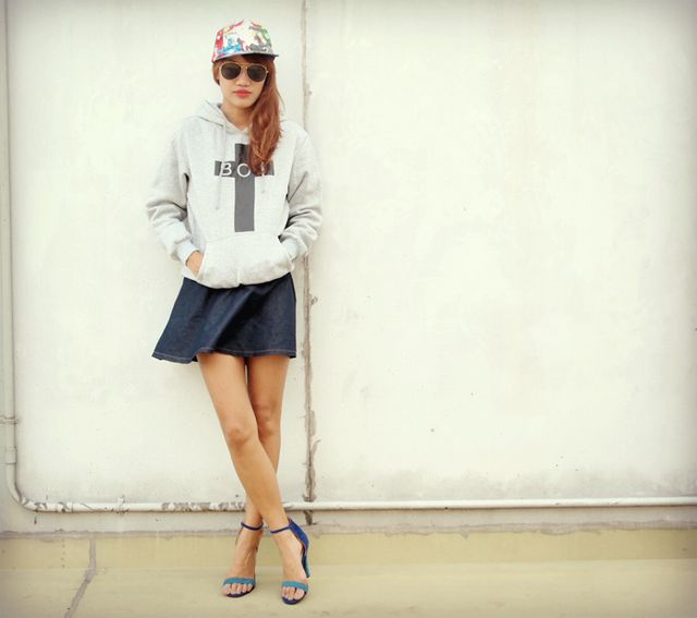 29ea152ab3a1 Sheinside Boy London inspired hoodie, Next Jeans skirt, Freedom Kicks cap,  Cotton On sunglasses, Trunkshow heels. I still wanted to keep my vintagey  vibe ...