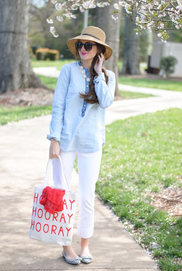 c53a29990f94 ban.do canvas tote    Sole Society straw hat    J.Crew chambray top     J.Crew red scarf (similar) Citizens of Humanity crop white jeans    Sole  Society ...