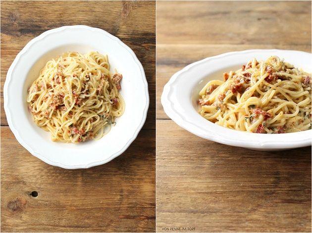 Spaghetti mit Mozzarella - Sauce und getrockneten Tomaten | Penne im ...