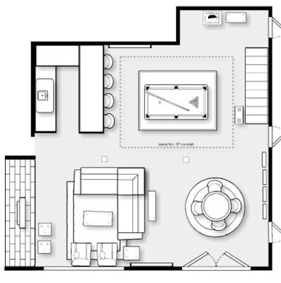 Family cave lower level basement living room bar and for Room planner game