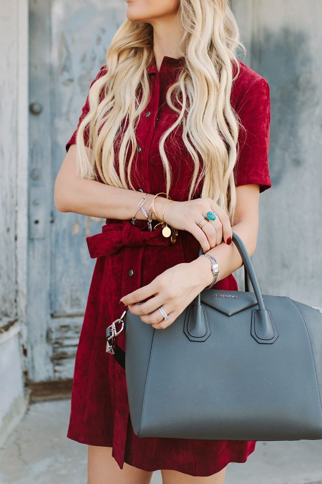 24c5391d5e7 DRESS: SUEDE LEATHER DRESS (COMES IN TALL) | BAG: GIVENCHY 'ANTIGONA' TOTE  | BOOTS: TOMMY HILFIGER GREY 'DITA' BOOTS C/O | SUNGLASSES: ROUND  SUNGLASSES ...