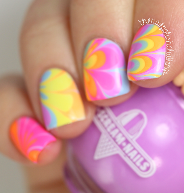 Neon Rainbow Watermarble Nail Art with I Scream Nails | The Nail ...