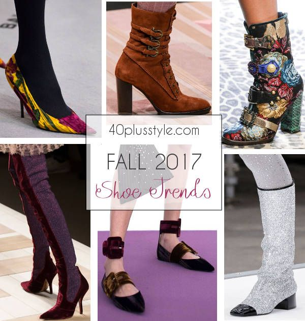 a6ddd71de3 Designers made bold choices for their shoes and accessories for Fall 2017.  High heels, ankle booties, pointy or square-toe shoes and high boots were  the top ...
