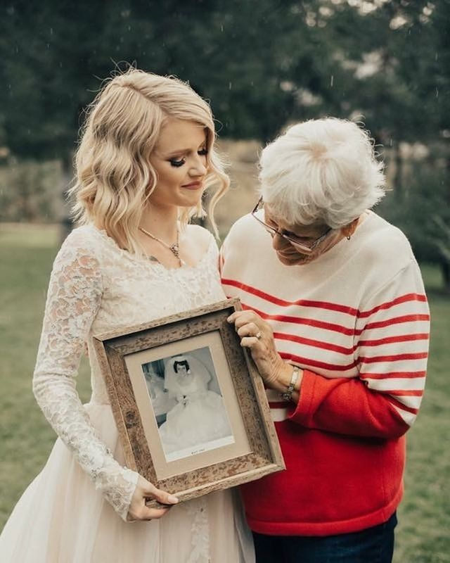 7dc8dab03ce Bride Surprises Grandmother by Wearing Her Wedding Dress from the 1960s. Pin