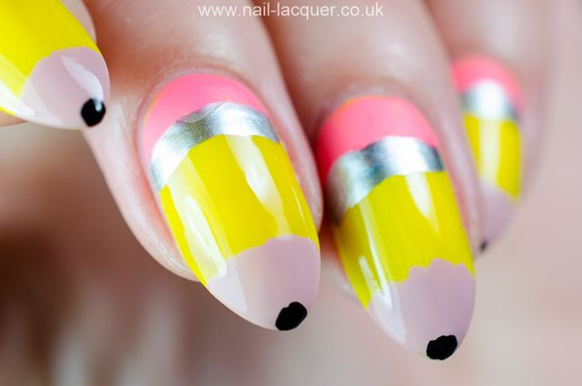 Pencil nail art tutorial nail lacquer uk bloglovin if you are good with details you could add black lines i didnt do it as i wanted to keep it simple thanks for reading the post pencil nail art prinsesfo Gallery
