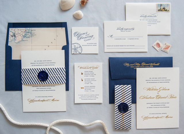 Very best Preppy and Nautical Gold Foil Wedding Invitations | Oh So  AF77