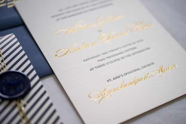Preppy and nautical gold foil wedding invitations oh so beautiful custom suite was designed for a lovely couples wedding held on the beautiful coast of maine the bride and groom wanted the invitation suite to reflect solutioingenieria Images