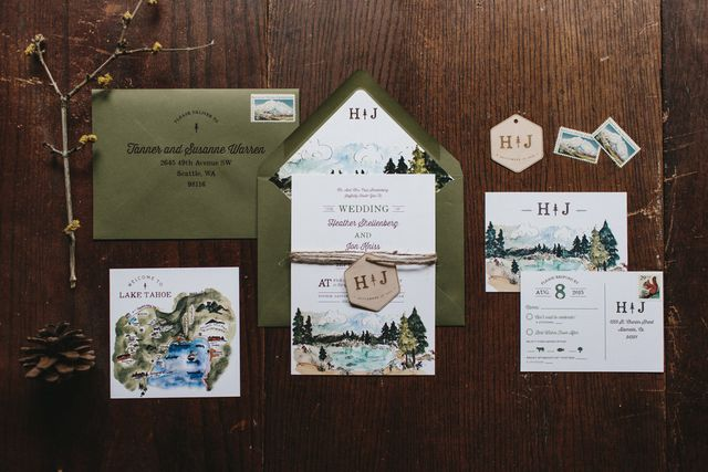 We Love How The Olive Green Envelopes Play With Lake Themed Accents In Design For Final Touches Printed Each Guest S Name And Address Onto