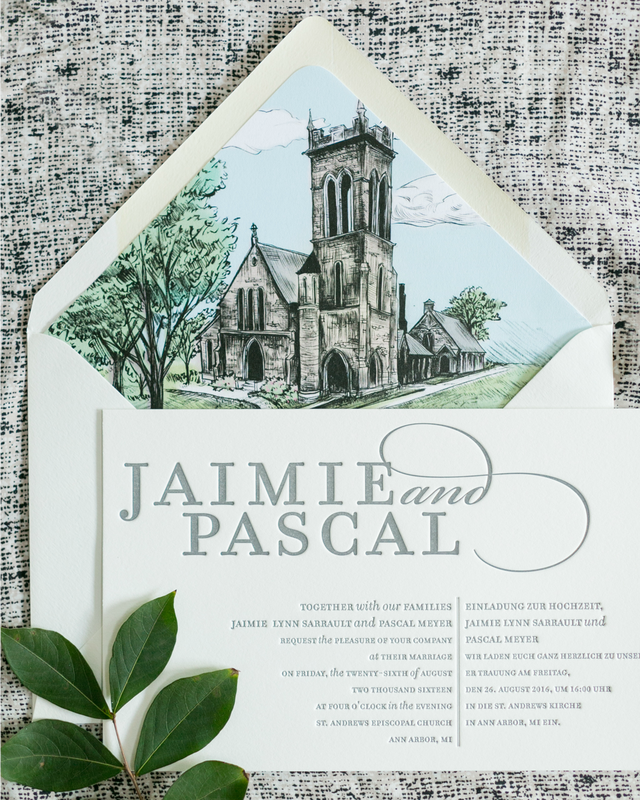 Bilingual Wedding Invitations with a Beautiful Illustrated Envelope ...