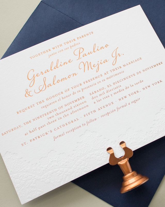 Bilingual copper foil and blind letterpress wedding invitations since geraldine and salomon were inviting guests that spoke both english and spanish they wanted to include both languages in their wedding stationery stopboris Image collections