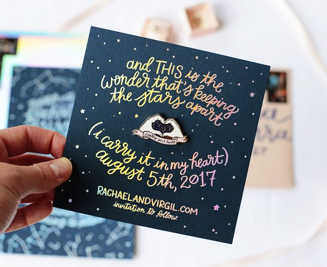 Best of 2017 playful and colorful wedding invitations oh so yes yes yes to more hologram wedding invitations in 2018 these modern holographic wedding invitations came to us from designer and lettering artist stopboris Choice Image