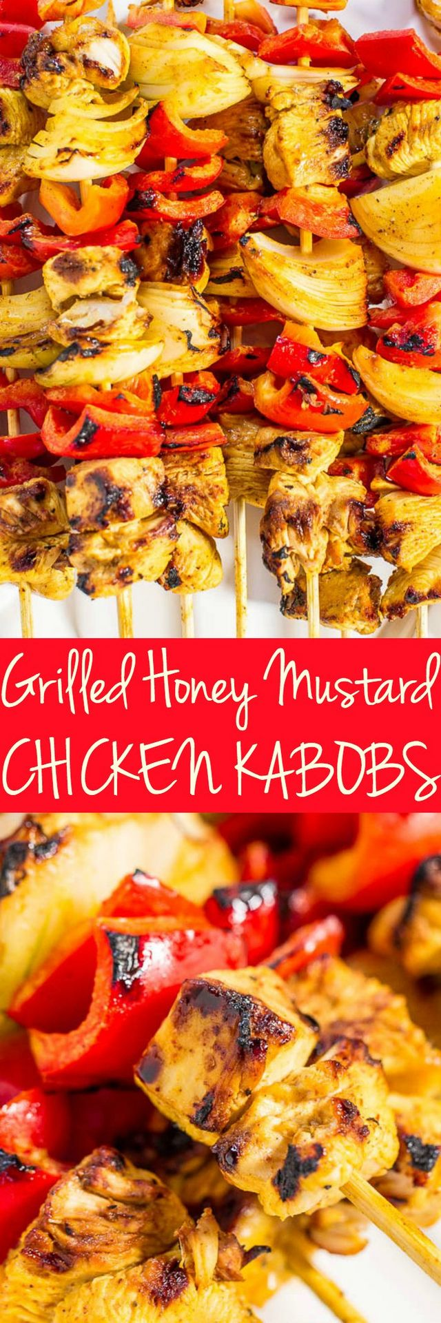 Grilled Honey Mustard Chicken Kabobs | Averie Cooks | Bloglovin'
