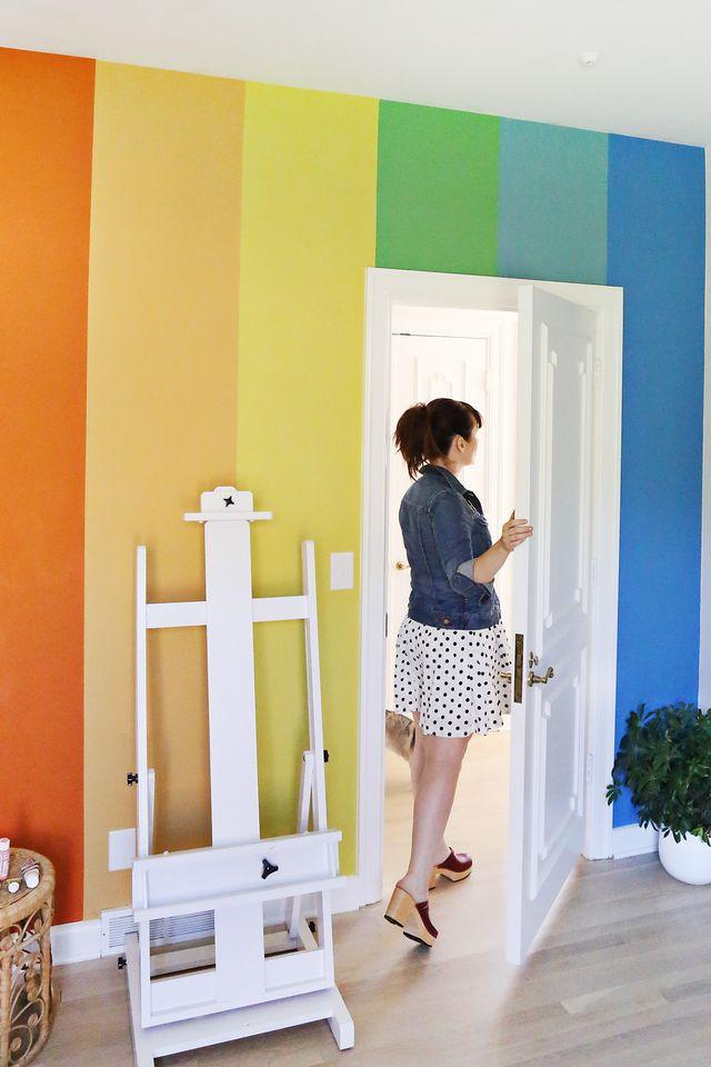 DIY Rainbow Accent Wall | A Beautiful Mess | Bloglovin\'
