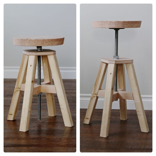 Adjustable Height Wood And Metal Stool Knock Off Wood