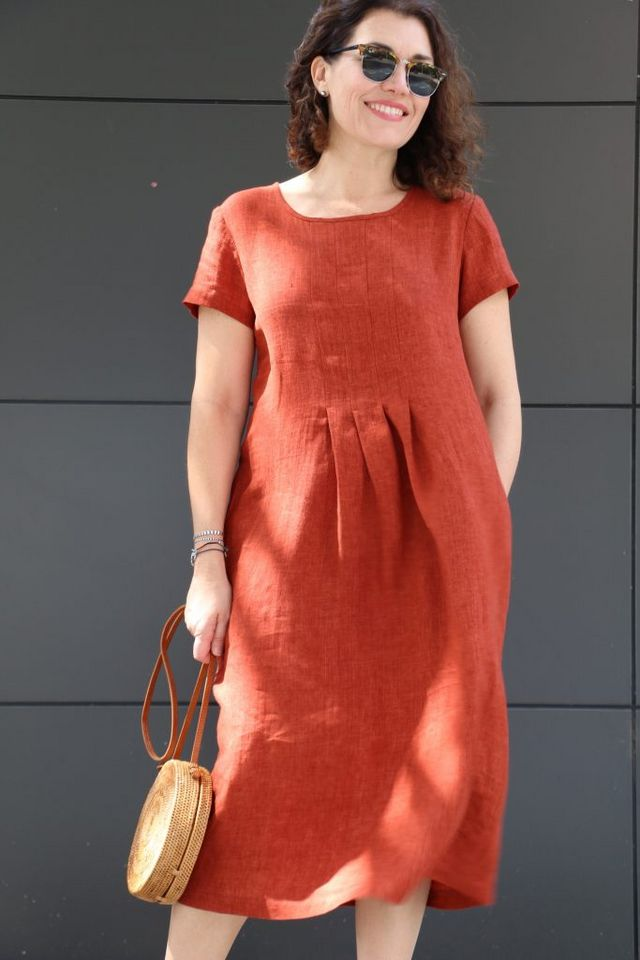 68c17f876c257 Meet our latest pattern – the Milenda Dress! This simple, classic pull-on  dress features short sleeves and pockets. The stitched-down pleats (on both  front ...