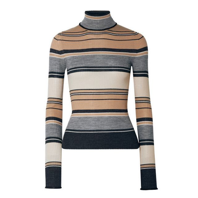 f78a2d00f002d Acne Studios Ribbed Striped Merino Wool Turtleneck Sweater: As much as I  *love* an oversized slouchy sweater, it's not the most conducive to  layering.