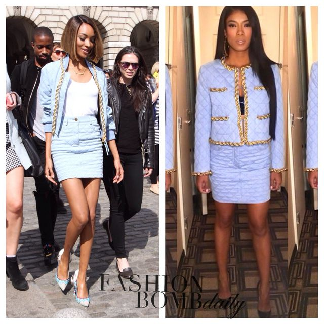 1acce67427 Dunn sported the same $2,495 Moschino Quilted Denim Bomber with Chain Trim  and matching $850 Moschino Quilted denim mini skirt Mila J wore to a  Capital ...