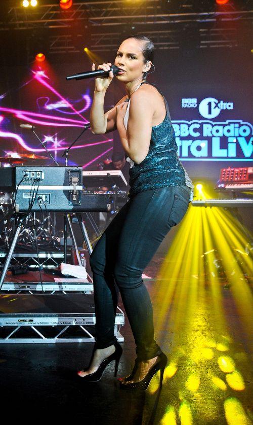 7e7d015007a1 Splurge  Alicia Keys s BBC Radio 1Xtra Live 3.1 Phillip Lim Sequin Collage  Dress and Jimmy Choo Taste Sandals