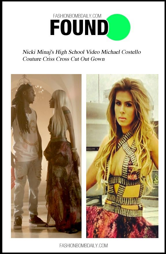 3fbd614163d Found  Nicki Minaj s High School Video Michael Costello Couture Criss Cross  Cut Out Gown and Moschino Spring 2011 Studded Leather Jacket