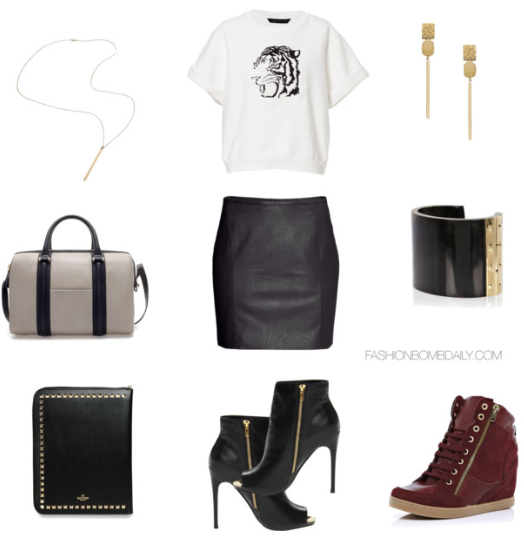 0e15c41cb8e Uplift this monochromatic ensemble with a pair of Steve Madden Dianna peep  toe ankle booties or get comfy in a pair of red wine hued wedge sneakers.