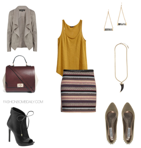 b51915f4fa Compliment the color palette of the skirt with a burgundy top handle and  contrast panel bag and a taupe waterfall jacket. For the finishing touches,  ...