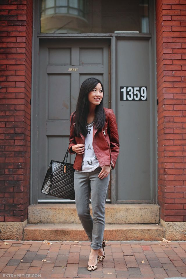 381fb860dfda2 Nordstrom Petites  Cognac leather jacket and grey skinny jeans ...