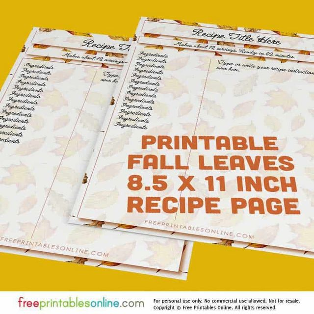 fall leaves 8 x 11 5 inch recipe page template free printables