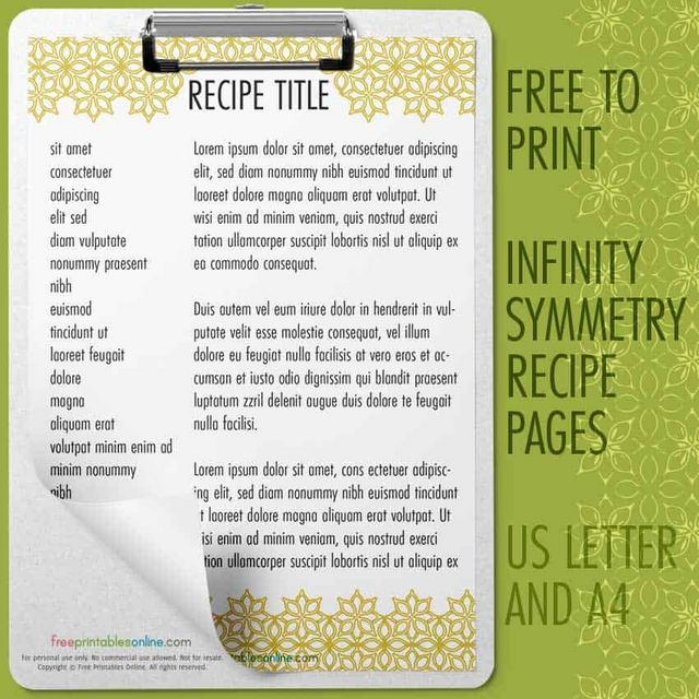 Infinity Symmetry Recipe Pages Free Printables Online Bloglovin
