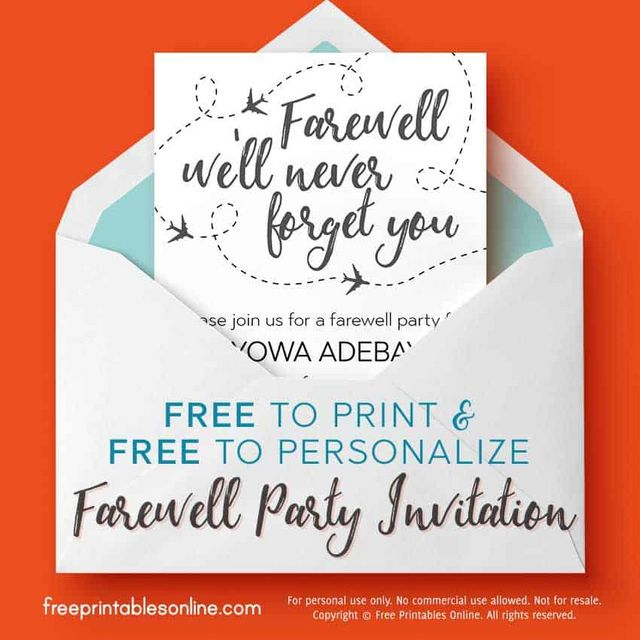 we'll never forget you farewell invitation  free