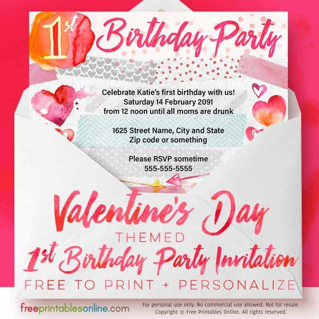 valentine s day 1st birthday party invitations free printables