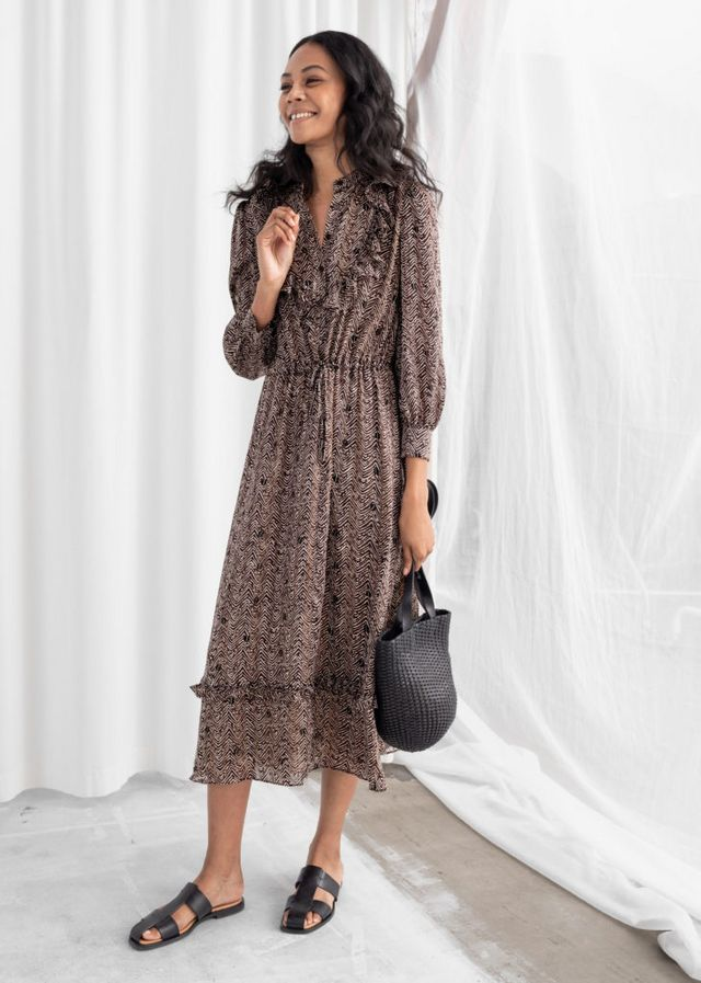 65d7cd88b9ac7d I also ordered this Printed Ruffle Bib Midi Dress for spring. I love the  puff shoulder and very tight cuffs on the sleeves. It's incredibly long so  I'm ...