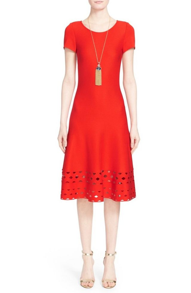 c04abe7a3dccc I feel like I need a red dress in my life and this Nordstrom St. John  Diamond Knit Trim Fit and Flare Dress would be perfect for summer cocktail  parties and ...