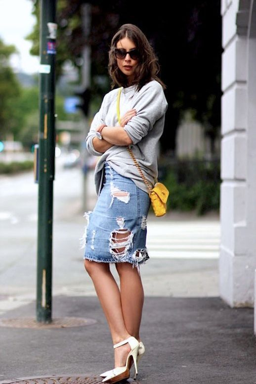 7 WAYS TO STYLE A DISTRESSED DENIM SKIRT | Le Fashion | Bloglovin'