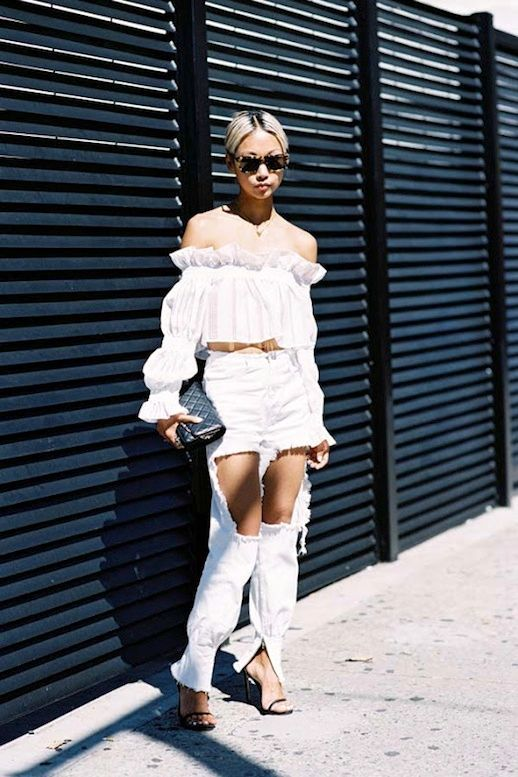 2df40c69a0c4c Street Style: A Feminine-Meets-Edgy Way To Wear White | Le Fashion ...