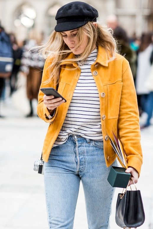 4044d74258c Street Style  A Casual Cool Way To Style A Bright Suede Jacket