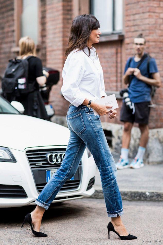 Street Style Emmanuelle Alt Classic White Shirt Cuffed Denim Le Fashion Bloglovin