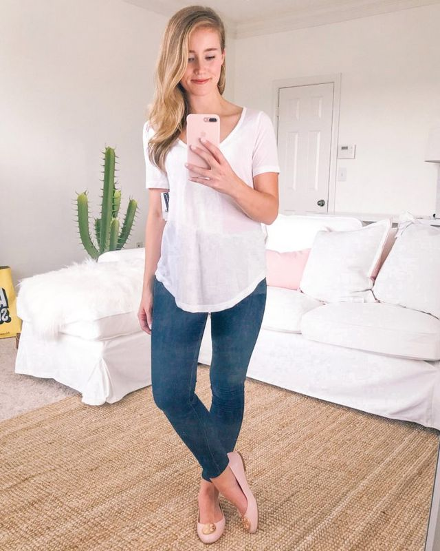 c0dab3794 TOP BP Raw Edge V-Neck Tee (wearing size XS) | JEANS Calson Sierra Skinny  Jeans (true to size, wearing 24) | SHOES Tory Burch Benton Ballet Flat  (true to ...