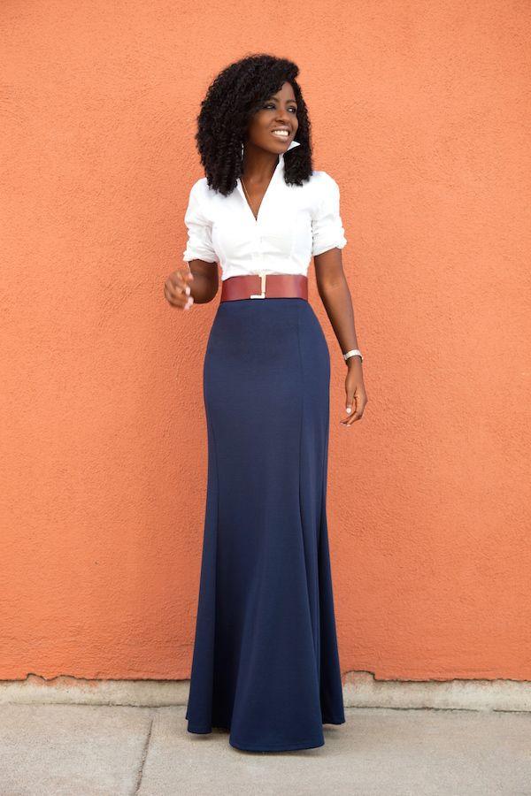 White Button Down Shirt   High Waist Maxi Skirt | Style Pantry ...