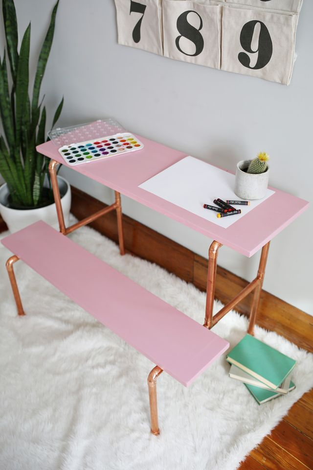 Long Live The Copper Pipe And All Its Many Uses I Designed This Child Sized Desk After Being Inspired By A Vintage Set Of Stairs That Were