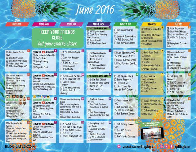 May Calendar Ilates : June ilates workout calendar