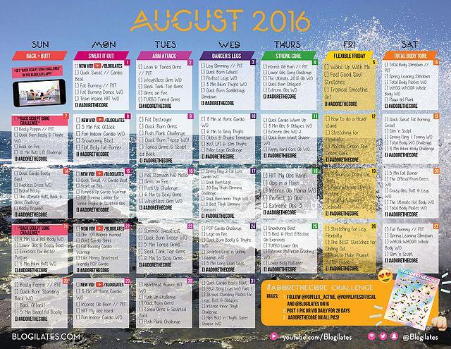 Workout Calendar Ilates : August workout calendar ilates fitness food